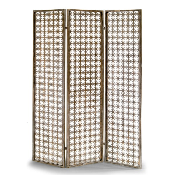 Abbey Three Panel Metal Folding Screen Antique Style Room Divider Free Shipping Today 12130898