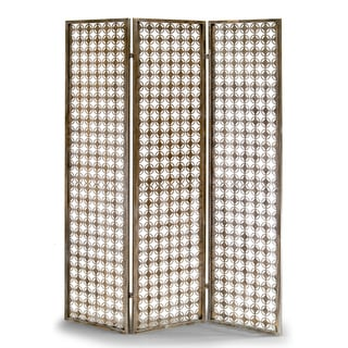 Abbey Three-panel Metal Folding Screen Antique-style Room Divider