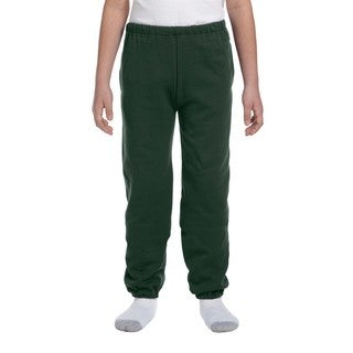 Super Sweats Boys' Forest Green Polyester Sweatpants with Pockets