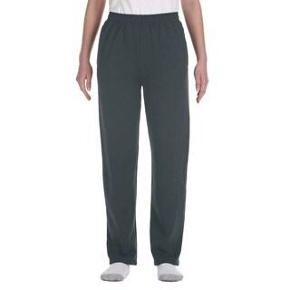 Nublend Boys' Heather Black Polyester Open-bottom Sweatpants with Pockets