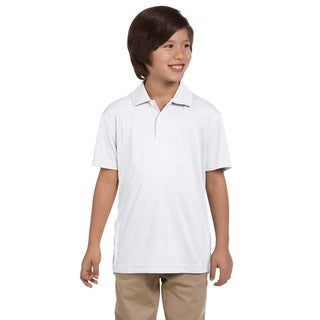 Youth Double Mesh Sport White Polyester T-Shirt