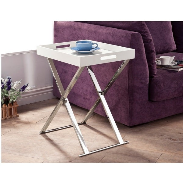 Coffee Table Tray Home Goods: Shop LYKE Home White Chrome Tray Table