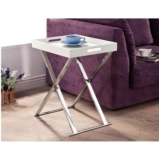 LYKE Home White Chrome Tray Table