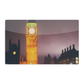 KESS InHouse Laura Evans 'Westminster at Night' Yellow Multicolor Artistic Aluminum Magnet