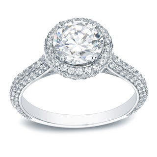 Auriya Platinum 2ct TDW Certified Round-Cut Diamond Halo Engagement Ring