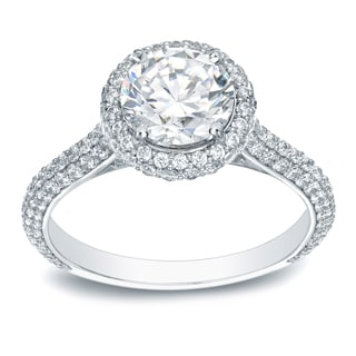 Auriya Platinum 2ct TDW Certified Round-Cut Diamond Halo Engagement Ring (H-I, SI1-SI2)