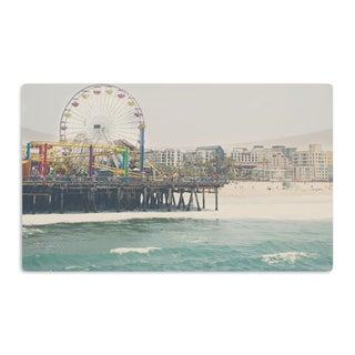 KESS InHouse Laura Evans 'The Pier at Santa Monica' Coastal Teal Artistic Aluminum Magnet