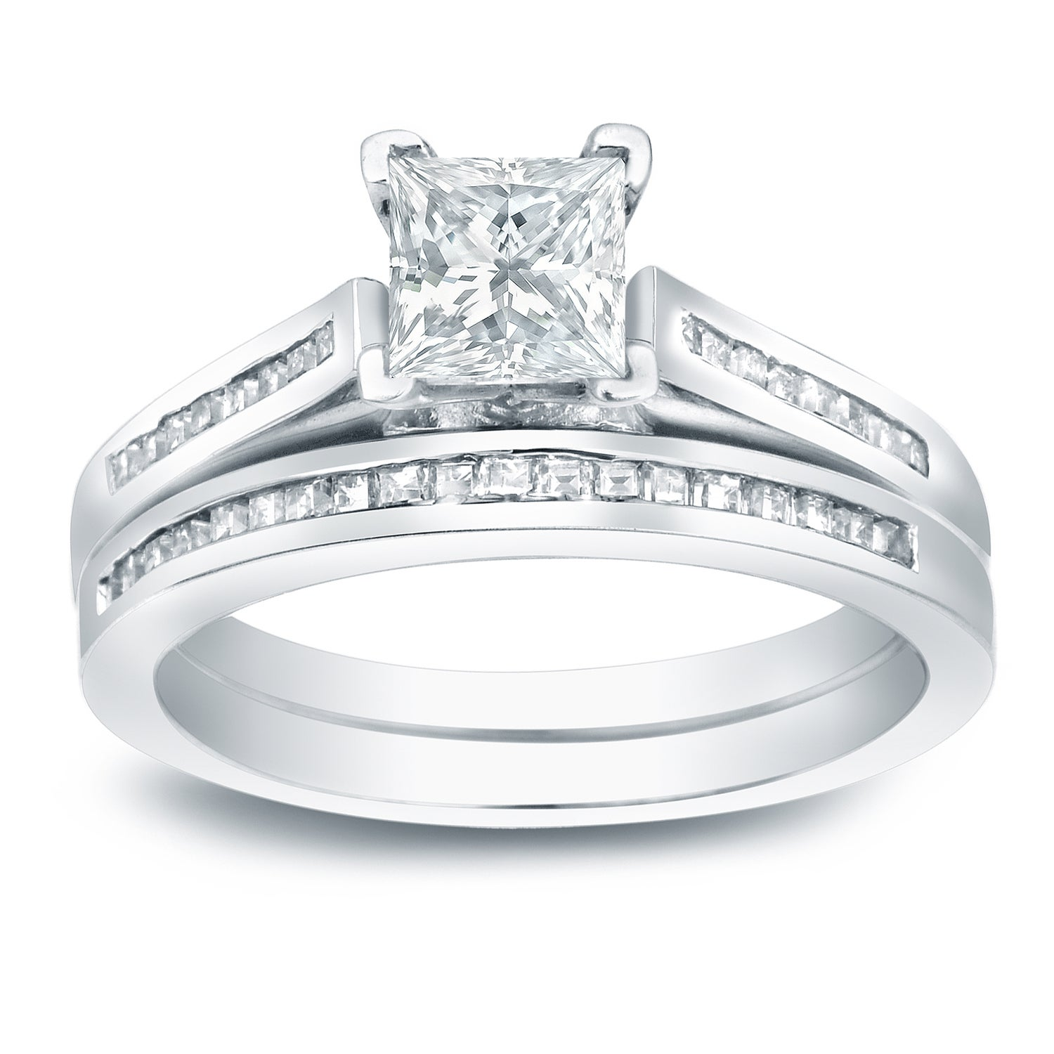 This is a graphic of Auriya Platinum 43 43/43ctw Princess-cut Diamond Engagement Ring Set