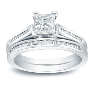 Auriya Platinum 1 1/2ct TDW Certified Princess-cut Diamond Halo Bridal Ring Set