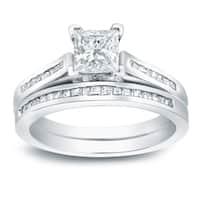 Auriya Platinum 1 1/2ct TDW Certified Princess-cut Diamond Halo Bridal Ring Set