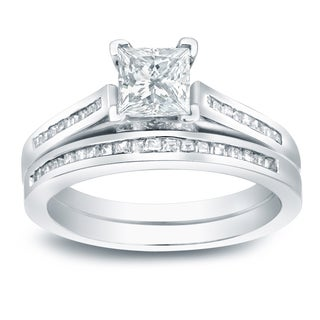 Auriya Platinum 1 1/2ct TDW Certified Princess-cut Diamond Halo Engagement Ring Set (More options available)