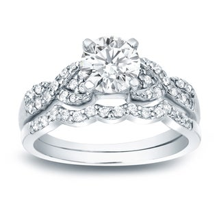 Auriya Platinum 1ct TDW Certified Round Diamond Bridal Ring Set