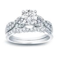 Auriya Platinum 1ct TDW Certified Twisted Infinity Diamond Engagement Ring Set