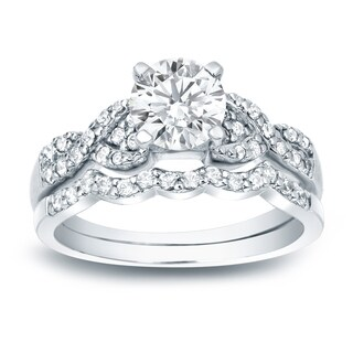 Auriya Platinum 1ct TDW Certified Twisted Infinity Diamond Engagement Ring Set