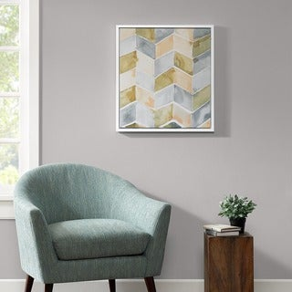 Intelligent Design Watercolor Chevron Yellow Gel Coat With White Wood Frame