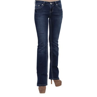 Season Story Women's Blue Cotton, Polyester, Rayon, and Spandex Rhinestone Embroidery Pocket Bootcut Jeans