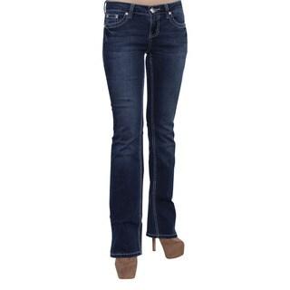 Season Story Women's Blue Cotton Blend Rhinestone Embroidery Pocket Bootcut Jeans