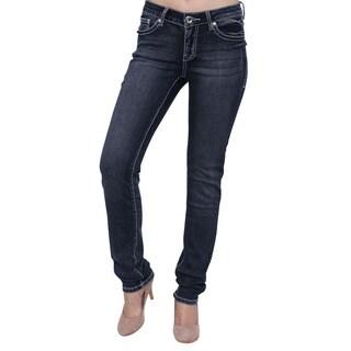 Season Story Women's Stretchy Blue Studded Embroidery Flap Pocket Skinny Jeans