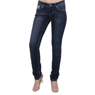 Season Story Women's Blue Button Studded Embroidered Pocket Skinny Jeans
