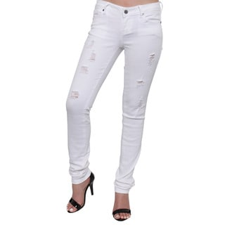 Season Story Women's White Cotton, Rayon, Spandex Classic 5-pocket Distressed Skinny Jeans