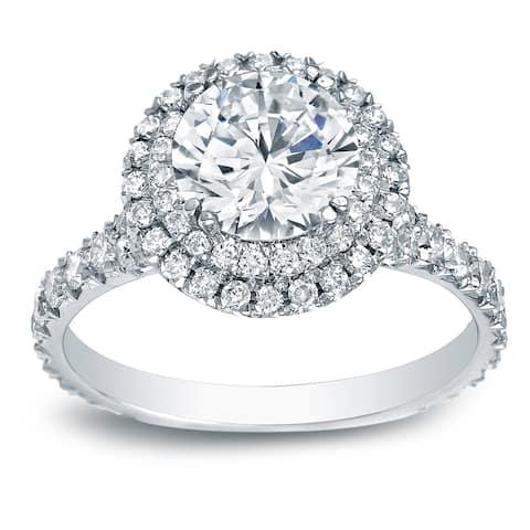 Auriya Platinum 2 carat TW Double Halo Diamond Engagement Ring