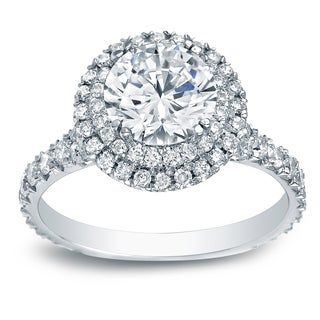 Auriya Platinum 2ct TDW Certified Round-Cut Diamond Double Halo Engagement Ring
