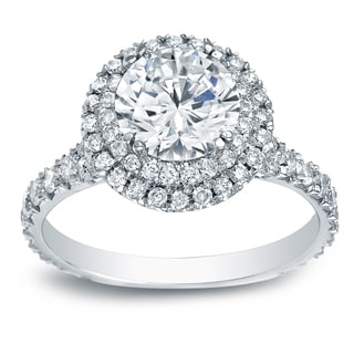 Auriya Platinum 2ct TDW Certified Round-Cut Diamond Double Halo Engagement Ring (H-I, SI1-SI2)