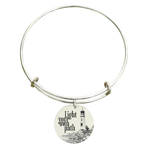 """Pink Box """"Light your own path"""" Inspirational Stainless Steel Expandable Bangle Bracelet"""