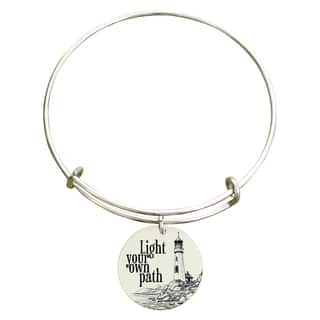 "Pink Box ""Light your own path"" Inspirational Stainless Steel Expandable Bangle Bracelet