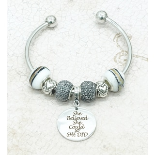 Pink Box Rhodium Plated 'She Believed She Could' Open Bangle