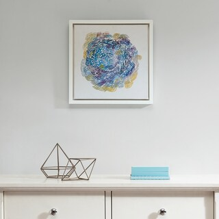 Intelligent Design Interwoven Blue Gel Coat With White Wood Frame