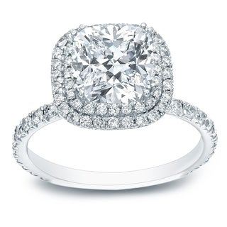 Auriya Platinum 1 3/4ct TDW Certified Cushion-Cut Diamond Double Halo Engagement Ring