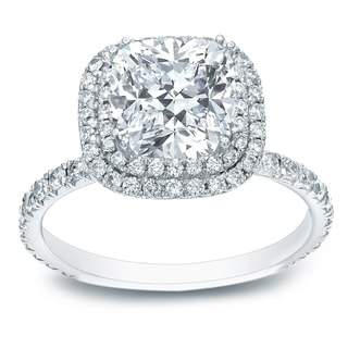 Auriya Platinum 1 3/4ct TDW Certified Cushion-Cut Diamond Double Halo Engagement Ring (H-I, SI1-SI2)