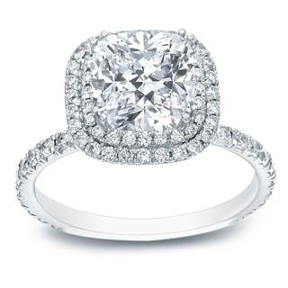 Auriya Platinum 1 3/4ct TDW Certified Cushion-Cut Diamond Double Halo Engagement Ring
