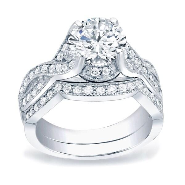 Auriya Platinum 1 1/2ctw Vintage Round Diamond Engagement Ring Set. Opens flyout.