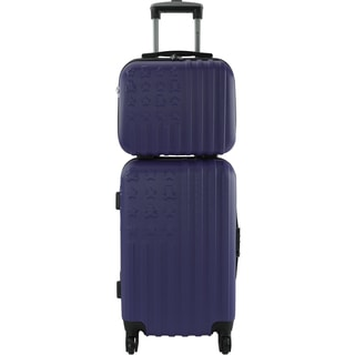 Lulu Castagnette Navy Hardside 2-piece Carry-on Luggage and Vanity Set