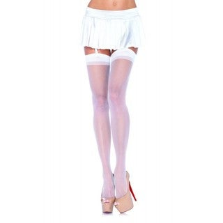 Leg Avenue White/Beige Nylon Sheer Stocking