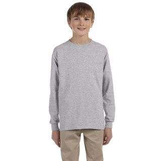 Gildan Boys' Ultra Grey Cotton Sport Long Sleeve T-shirt