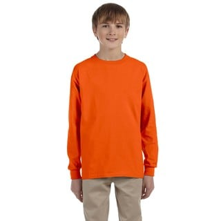 Ultra Boys' Orange Cotton Long-sleeve T-shirt