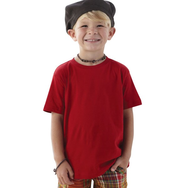 Boys' Red 4.5-ounce Cotton Fine Jersey T-shirt