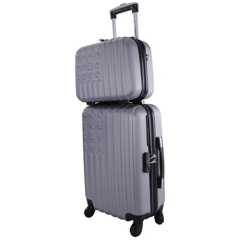 Lulu Castagnette Silver 2-piece Hardside Carry-on Spinner Luggage Set