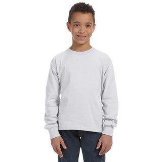 Fruit of the Loom Boys' Ash 5-ounce Heavy Cotton Heather Long Sleeve T-shirt