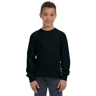 Boys' Black Cotton and Polyester Long-sleeve T-shirt