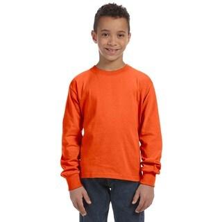 Boys' Heather Burnt Orange 100-Percent Heavy Cotton 5-ounce Long-sleeve T-shirt