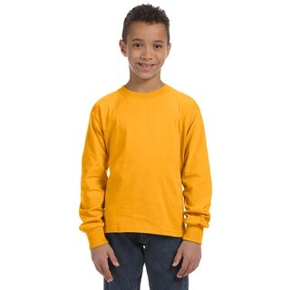 Boys' Heather Gold 100-percent Heavy Cotton 5-ounce Long-sleeve T-shirt
