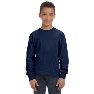 Boys' Heather Navy 100-percent Heavy Cotton 5-ounce Long-sleeve T-shirt