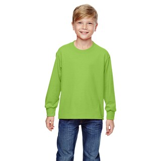 Fruit of the Loom Boys' Neon Green Heavy Cotton Long-sleeved T-shirt