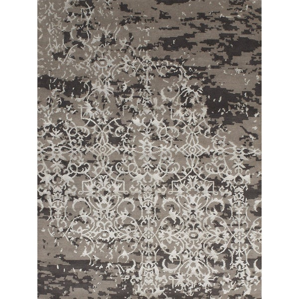 Handmade Relaxed Design Wool and Rayon From Bamboo Rug - 4 feet x 6 feet