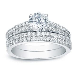 Auriya Platinum 1 1/2ct TDW Certified Round-Cut Diamond Bridal Ring Set (H-I, SI1-SI2)
