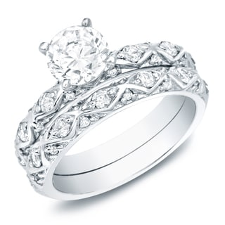 Auriya Platinum 1ct TDW Certified Round-Cut Diamond Bridal Ring Set (H-I, SI1-SI2)